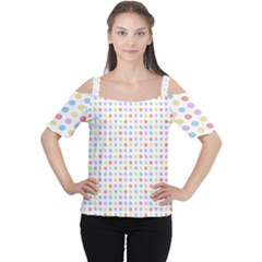 Blue Pink Yellow Eggs On White Cutout Shoulder Tee