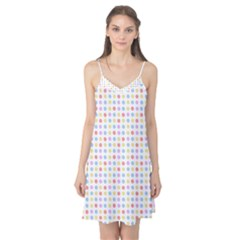 Blue Pink Yellow Eggs On White Camis Nightgown
