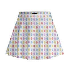 Blue Pink Yellow Eggs On White Mini Flare Skirt
