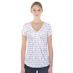 Blue Pink Yellow Eggs On White Short Sleeve Front Detail Top