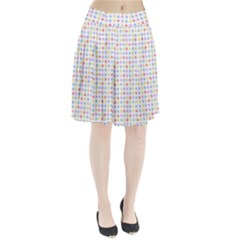 Blue Pink Yellow Eggs On White Pleated Skirt