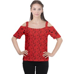 Red Music Cutout Shoulder Tee