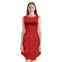 Red Music Sleeveless Chiffon Dress