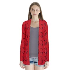 Red Music Drape Collar Cardigan