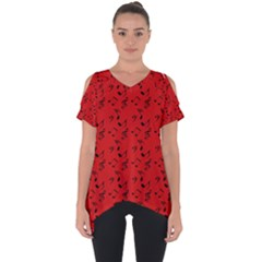 Red Music Cut Out Side Drop Tee
