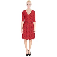 Red Music Wrap Up Cocktail Dress