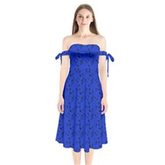 Royal Blue Music Shoulder Tie Bardot Midi Dress