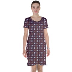 Grey Pink Lilac Brown Eggs On Brown Short Sleeve Nightdress