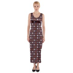 Grey Pink Lilac Brown Eggs On Brown Fitted Maxi Dress