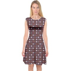 Grey Pink Lilac Brown Eggs On Brown Capsleeve Midi Dress