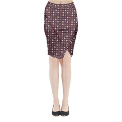 Grey Pink Lilac Brown Eggs On Brown Midi Wrap Pencil Skirt