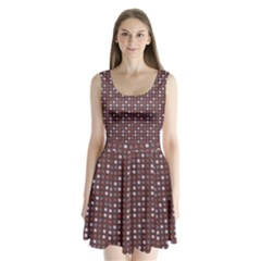 Grey Pink Lilac Brown Eggs On Brown Split Back Mini Dress
