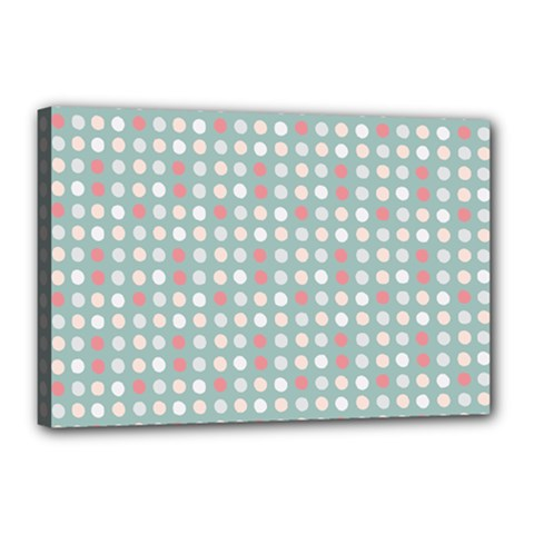 Pink Peach Grey Eggs On Teal Canvas 18  X 12