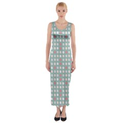 Pink Peach Grey Eggs On Teal Fitted Maxi Dress