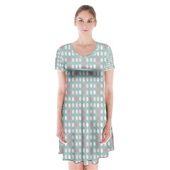 Pink Peach Grey Eggs On Teal Short Sleeve V Neck Flare Dress
