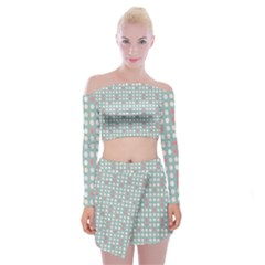 Pink Peach Grey Eggs On Teal Off Shoulder Top With Mini Skirt Set
