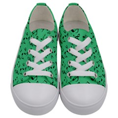 Green Music Kids  Low Top Canvas Sneakers