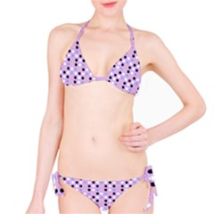 Black White Pink Blue Eggs On Violet Bikini Set