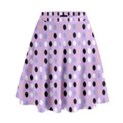Black White Pink Blue Eggs On Violet High Waist Skirt