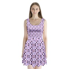 Black White Pink Blue Eggs On Violet Split Back Mini Dress