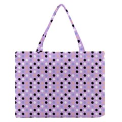 Black White Pink Blue Eggs On Violet Zipper Medium Tote Bag