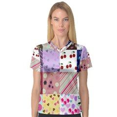 Quilt Of My Patterns V Neck Sport Mesh Tee