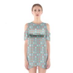 Peach Pink Eggs On Green Shoulder Cutout One Piece