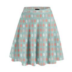 Peach Pink Eggs On Green High Waist Skirt