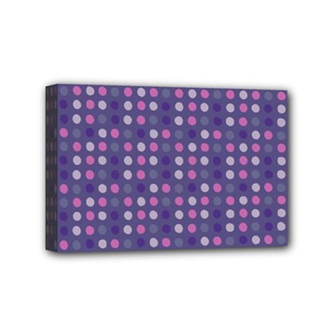 Violet Grey Purple Eggs On Grey Blue Mini Canvas 6  X 4