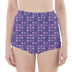 Violet Grey Purple Eggs On Grey Blue High Waisted Bikini Bottoms