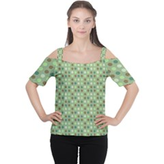 Green Brown  Eggs On Green Cutout Shoulder Tee