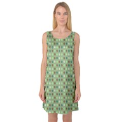 Green Brown  Eggs On Green Sleeveless Satin Nightdress