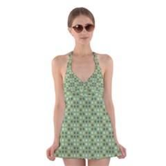Green Brown  Eggs On Green Halter Dress Swimsuit
