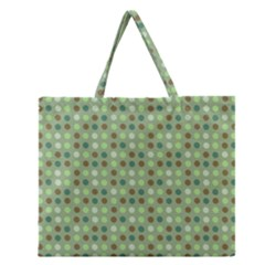 Green Brown  Eggs On Green Zipper Large Tote Bag