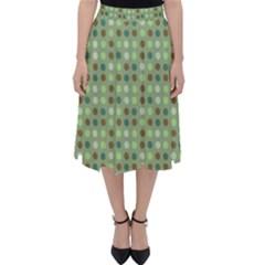 Green Brown  Eggs On Green Folding Skater Skirt