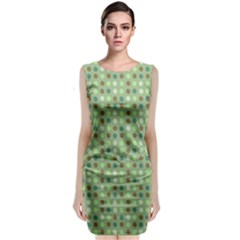Green Brown  Eggs On Green Classic Sleeveless Midi Dress