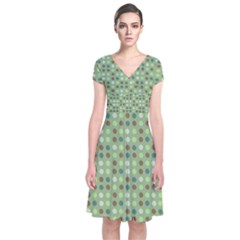 Green Brown  Eggs On Green Short Sleeve Front Wrap Dress