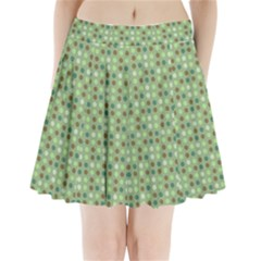 Green Brown  Eggs On Green Pleated Mini Skirt