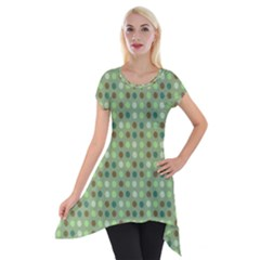 Green Brown  Eggs On Green Short Sleeve Side Drop Tunic