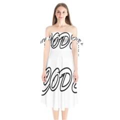 Code White Shoulder Tie Bardot Midi Dress