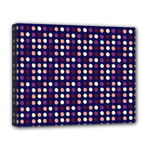 Peach Purple Eggs On Navy Blue Deluxe Canvas 20  X 16