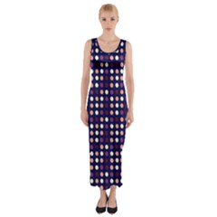 Peach Purple Eggs On Navy Blue Fitted Maxi Dress