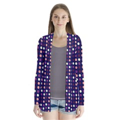 Peach Purple Eggs On Navy Blue Drape Collar Cardigan