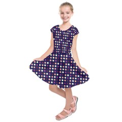 Peach Purple Eggs On Navy Blue Kids  Short Sleeve Dress