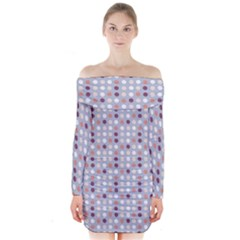 Pink Purple White Eggs On Lilac Long Sleeve Off Shoulder Dress