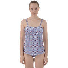 Pink Purple White Eggs On Lilac Twist Front Tankini Set