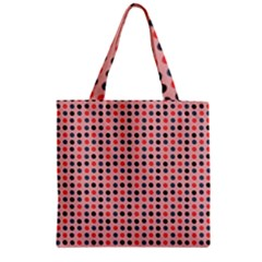 Grey Red Eggs On Pink Zipper Grocery Tote Bag
