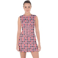 Grey Red Eggs On Pink Lace Up Front Bodycon Dress
