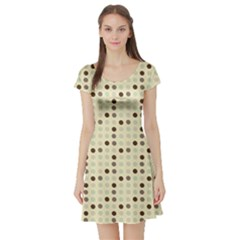 Brown Green Grey Eggs Short Sleeve Skater Dress