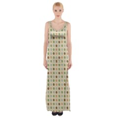 Green Brown Eggs Maxi Thigh Split Dress